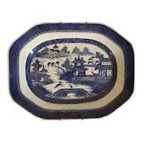 Antique 19th century Chinese Export Canton Blue & White Porcelain Platter of Medium Size