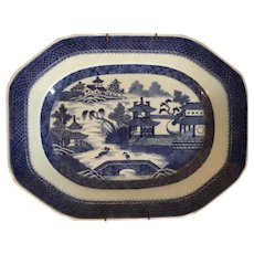 Antique 19th century Chinese Export Canton Blue & White Porcelain Platter of Medium Size