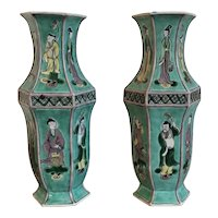 Pair Antique 19th century Chinese Famille Vert Biscuit Porcelain Vases Decorated with Immortals