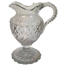 Exceptional Antique 18th century Anglo Irish Cut Crystal Glass Pitcher Jug for Wine or Water