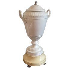 Antique 19th century Neoclassical KPM Berlin Blanc de Chine White Porcelain Vase Urn Mounted as a Table Lamp