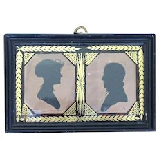 Antique Early 19th century American Federal Double Silhouette Husband and Wife in Verre Eglomise Gold & Black Frame 1810