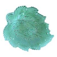 Antique 18th century English George III Creamware Green Footed Leaf Dish