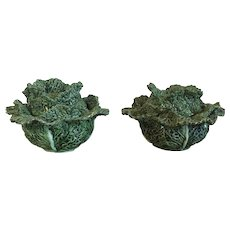 Pair Portuguese Majolica Green Cabbage Lettuce Leaf Small Tureens or Boxes with Covers
