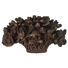 Antique 18th century French Louis XVI Carved Wood Architectural Trophy in the Form of a Flower Basket