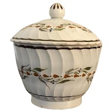 Antique 18th / 19th century English George III Pearlware Creamware Prattware Sucrier Sugar Bowl 1800