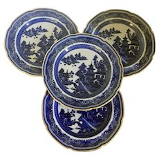 Set 4 Antique 19th century Copeland Spode Chinese Canton Style Blue & White Porcelain Dinner Plates with Gold Trim