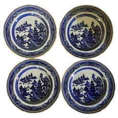 Set 4 Antique 19th century Copeland Spode Chinese Canton Style Blue & White Porcelain Luncheon Plates with Gold Trim