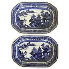 Pair Antique 19th century Copeland Spode Chinese Canton Style Blue & White Porcelain Platter Plates with Gold Trim