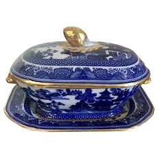 Antique 19th century Copeland Spode Chinese Canton Style Blue & White Porcelain Sauce Tureen, Cover and Under Tray Platter with Gold Trim