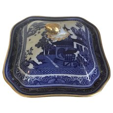 Antique 19th century Copeland Spode Chinese Canton Style Blue & White Porcelain Entree Vegetable Serving Dish and Cover with Gold Trim