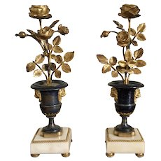 Antique Pair 18th century French Louis XVI Period Fire Gilt Bronze and White Marble Urn Form Candelabra Candlesticks