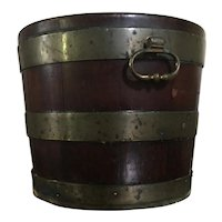 Antique 18th century George III Mahogany Brass Bound Peat Bucket or Open Cellarette with Zinc Liner 1780