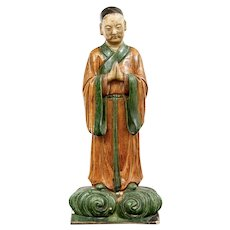 Large Antique Chinese Buddhist Monk Ming Sancai Glazed Figural Immortal Roof Tile of a Lohan or Luohan