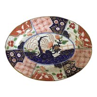 Antique Early 19th century Coalport Porcelain Rock & Tree Imari Oval Platter 1810