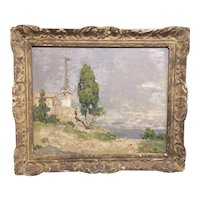 Early 20th century Impressionist Landscape Oil Painting on Wood Board of the Mediterranean in 18th century Frame