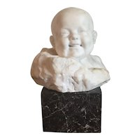 Early 20th century Italian Carved White Marble Head Bust of an Infant or Baby by Giorgio Rossi 1920 on Rouge Marble Plinth