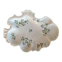 Antique Early 19th century Mason's Patent Ironstone China Rococo Shell Shape Dessert Dish in Sprig Cornflower