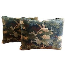 Pair Rectangular Green Woven Wool Verdure Tapestry Pillows with Brown Mohair Backs