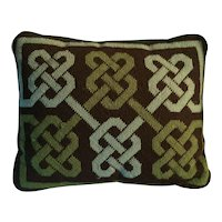 Vintage Needlepoint Wool Pillow with Geometric Knot Design in Shades of Green and Brown