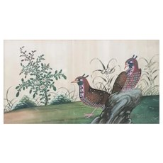 Antique 18th century Chinese Painting on Silk of Two Exotic Birds or Peacocks in Landscape