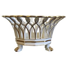 Antique 19th century French Empire Paris Porcelain Reticulated Basket in White & Gold with Lion Paw Feet