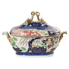 Large Early 19th century Coalport Imari Porcelain Rock and Tree Pattern Soup Tureen