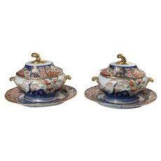 Pair Antique Early 19th century English Coalport Imari Porcelain Sauce Tureens, Covers and Under Plates Rock & Tree Pattern 1805