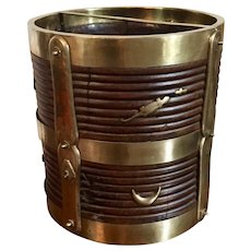 Antique 19th century Anglo Indian Brass Bound Carved Wood Peat Bucket with Turned, Reeded Design and Applied Animals
