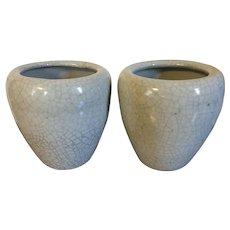 Pair 20th century Chinese Monochrome Crackle Glaze Porcelain Flower Pot Vases