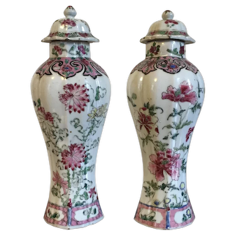 Pair Early 18th century Chinese Export Porcelain Famille Rose Garniture Vases & Covers
