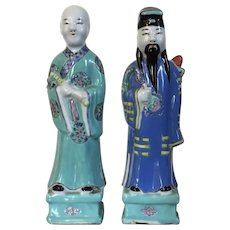 Pair Antique 19th century Chinese Export Porcelain Figures of Scholars Officials or Immortals in Famille Rose Palette