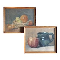 Pair Still Life Watercolor Paintings of Fruit by Children's Book Illustrator Ruth Hallock circa 1900