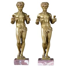 Pair Antique 19th century French Bronze Neoclassical Figures of Young Hercules Vanquishing Hydra