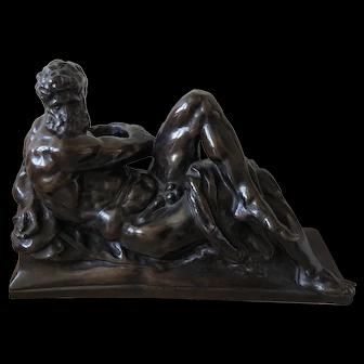 Antique 19th century Grand Tour Classical Bronze Sculpture / Statue of Hercules or Zeus