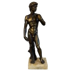 Antique 19th century Italian Grand Tour Bronze Statue of Michelangelo's David on Marble Base