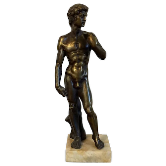 Antique 19th century Italian Grand Tour Bronze Statue of Michelangelo's David on Marble Base