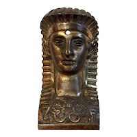 Antique Early 19th century French Empire Gilt Bronze Egyptian Revival Mount in the Form of a Pharaoh's Mask
