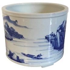 Antique 19th century Chinese Blue & White Porcelain Brush Pot Cachepot Planter with Harbor Landscape Decoration