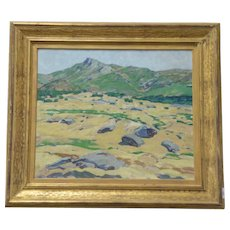 Large 1920 - 1930 American Oil Painting on Board of a Western Mountain Landscape by Mary Gine Riley (1883 - 1939)