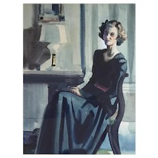 American Watercolor Painting Portrait of a Lady Seated in a Colonial Revival Interior 1920 - 1930
