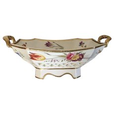 Antique Early 19th century English Porcelain Reticulated Chestnut Basket or Fruit Bowl with Hand Painted Flowers 1820