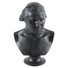 Antique Wedgwood Black Basalt Bust of President George Washington After Jean Antoine Houdon 19th century