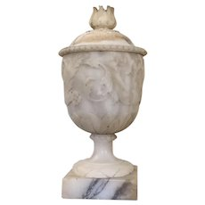 Large Antique 19th century Italian Grand Tour Carved Alabaster Marble Urn Vase in the Piranesi Style Originally Used for Burning Incense or Pastilles