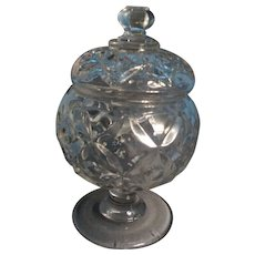 Antique 19th century EAPG Flint Glass Sugar Urn Form Bowl and Cover in the Four Petal Pattern