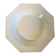 Antique French Montereau Creamware Octagonal Soup Bowl Plate