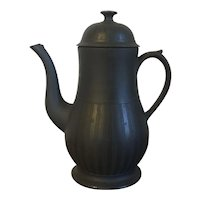 Antique 18th century English Wedgwood Black Basalt Engine Turned Coffee Pot
