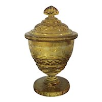 Antique 19th century Cut & Etched Amber Glass Covered Crystal Vase Urn