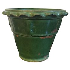Antique Late 19th / Early 20th century Green Glazed French Terracotta Flower Pot
