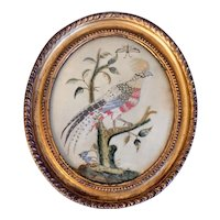 Antique 18th century English George III Needlework Picture of an Exotic Bird in Original Carved Gilt Wood Frame